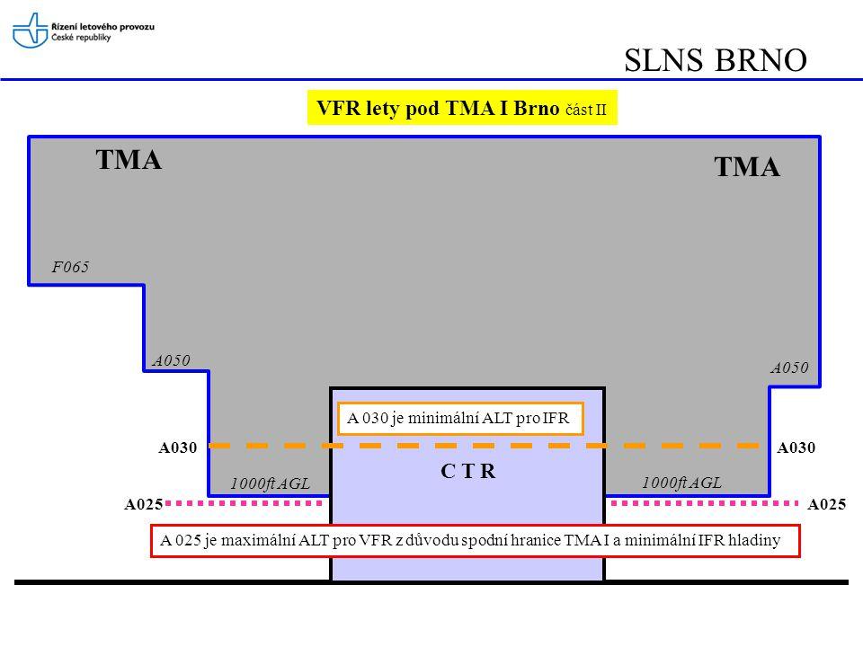 SLNS BRNO TMA TMA VFR lety pod TMA I Brno část II C T R F065 A050 A050