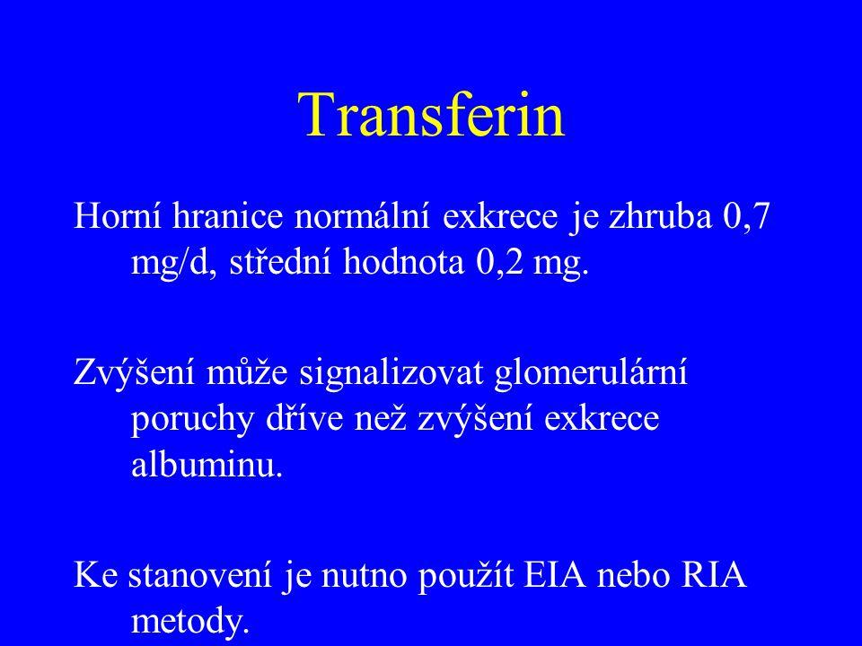 Transferin Horní hranice normální exkrece je zhruba 0,7 mg/d, střední hodnota 0,2 mg.