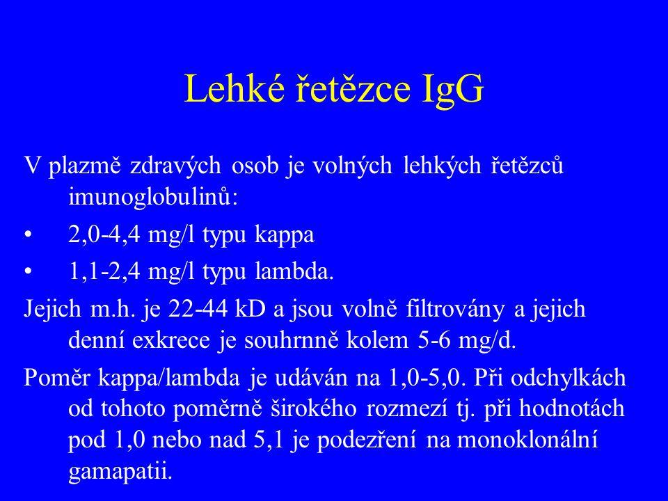 Lehké řetězce IgG V plazmě zdravých osob je volných lehkých řetězců imunoglobulinů: 2,0-4,4 mg/l typu kappa.