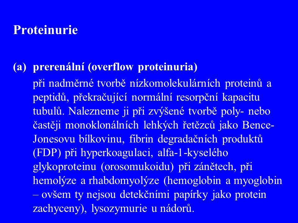 Proteinurie prerenální (overflow proteinuria)
