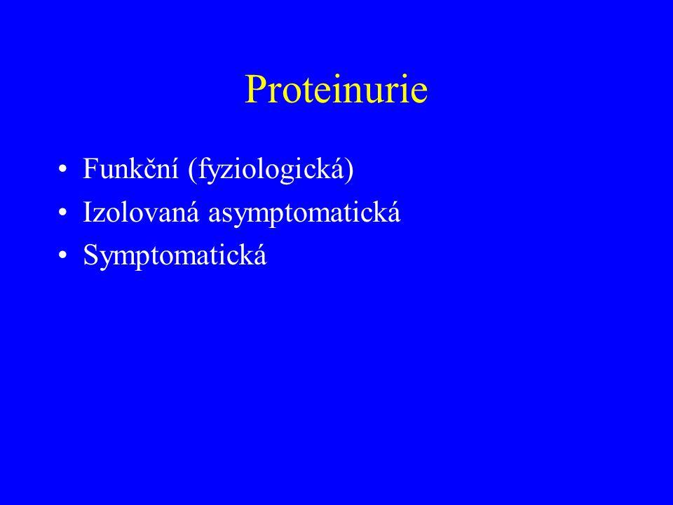 Proteinurie Funkční (fyziologická) Izolovaná asymptomatická