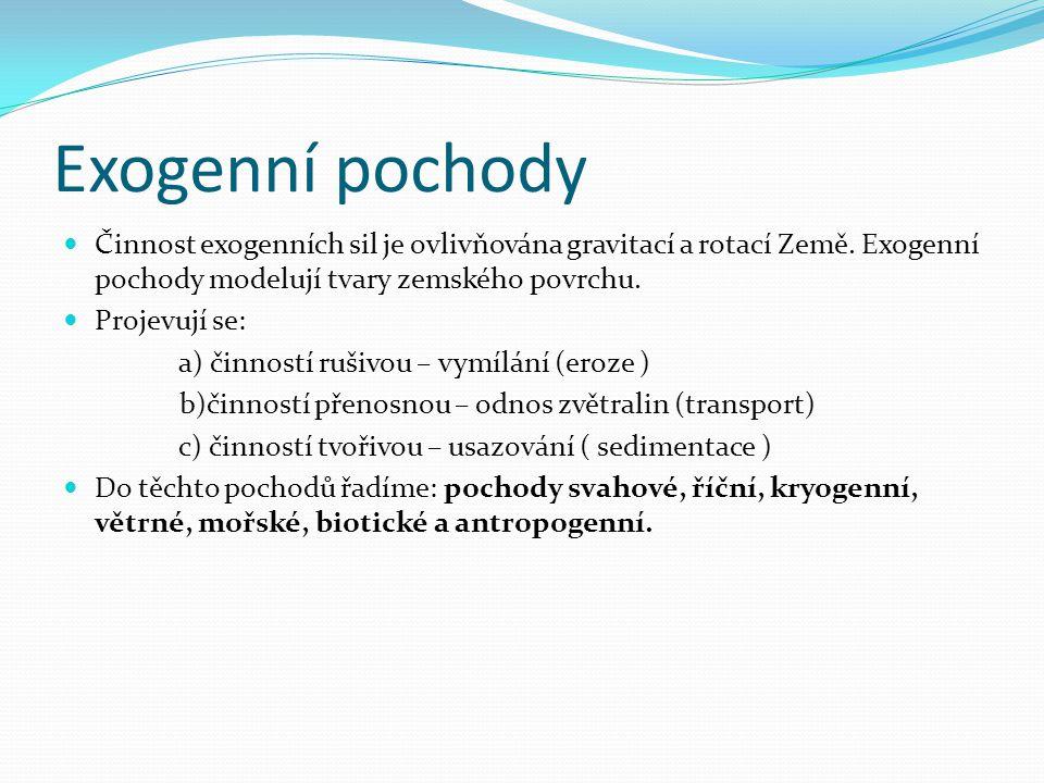 Exogenní pochody Činnost exogenních sil je ovlivňována gravitací a rotací Země. Exogenní pochody modelují tvary zemského povrchu.