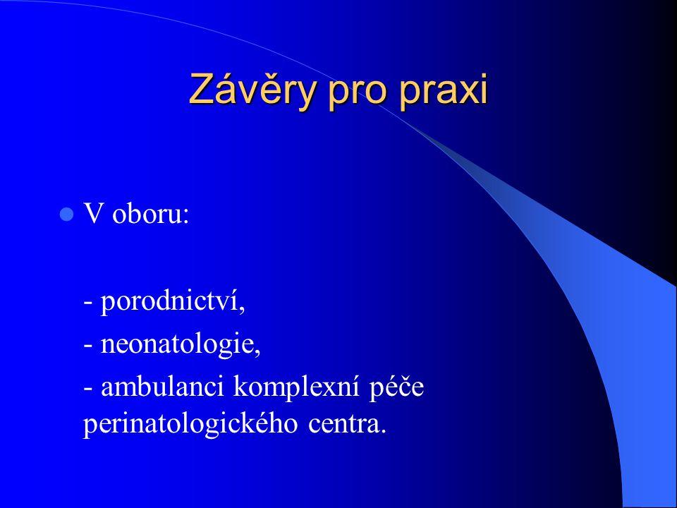 Závěry pro praxi V oboru: - porodnictví, - neonatologie,