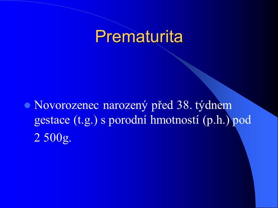 Prematurita Novorozenec narozený před 38. týdnem gestace (t.g.) s porodní hmotností (p.h.) pod.