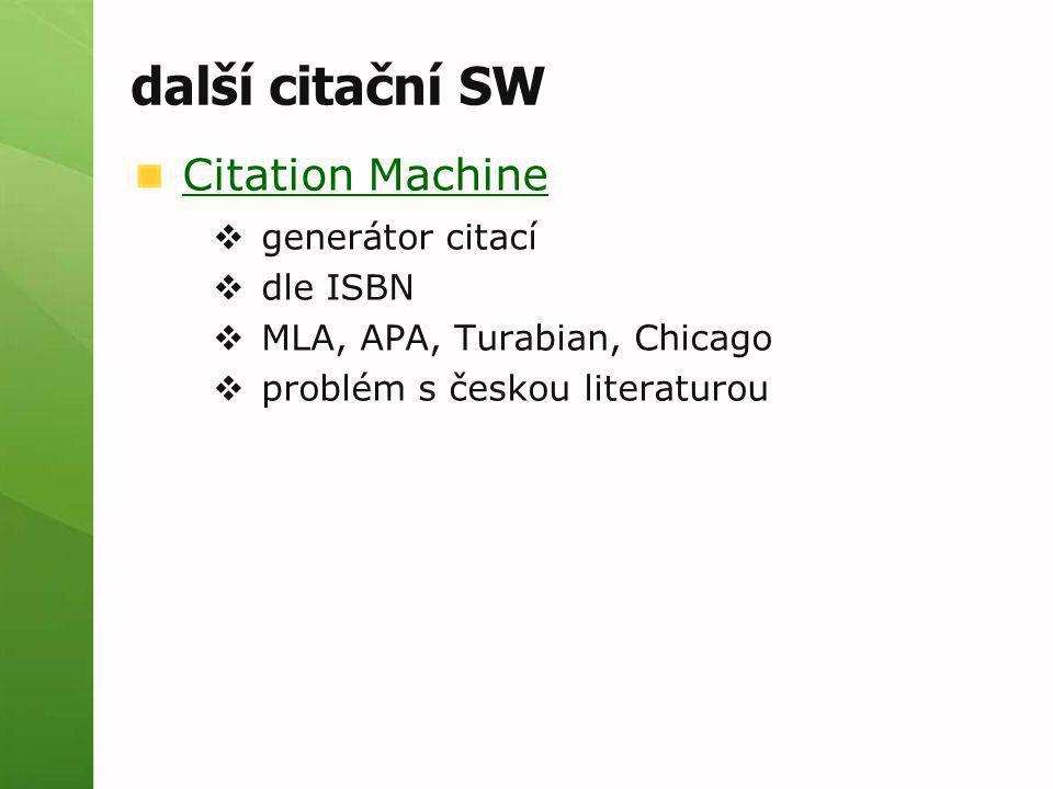 další citační SW Citation Machine generátor citací dle ISBN