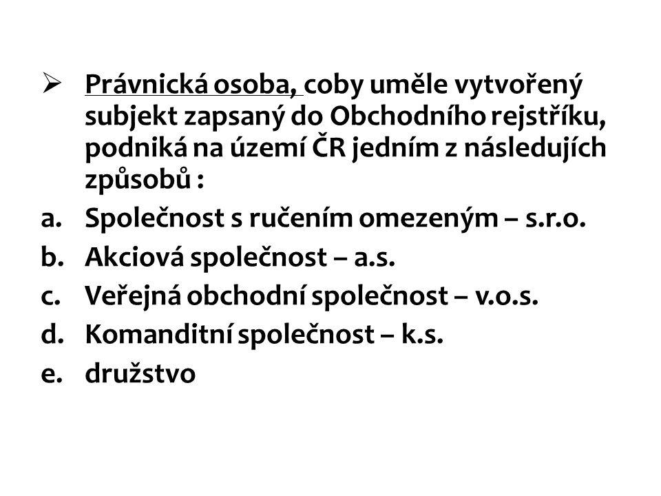 Právnická osoba, coby uměle vytvořený subjekt zapsaný do Obchodního rejstříku, podniká na území ČR jedním z následujích způsobů :