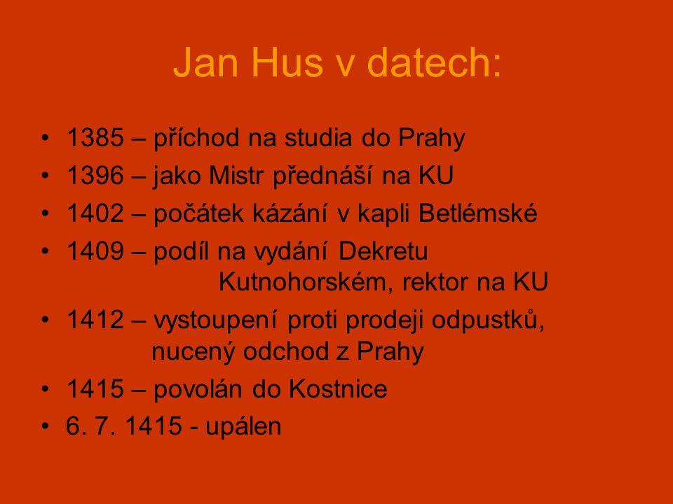 Jan Hus v datech: 1385 – příchod na studia do Prahy