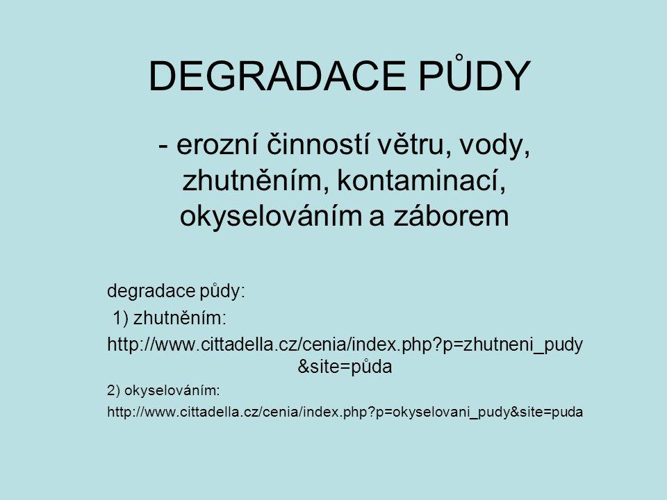 DEGRADACE PŮDY - erozní činností větru, vody, zhutněním, kontaminací, okyselováním a záborem. degradace půdy:
