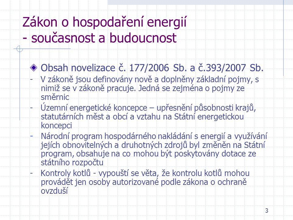 Zákon o hospodaření energií - současnost a budoucnost