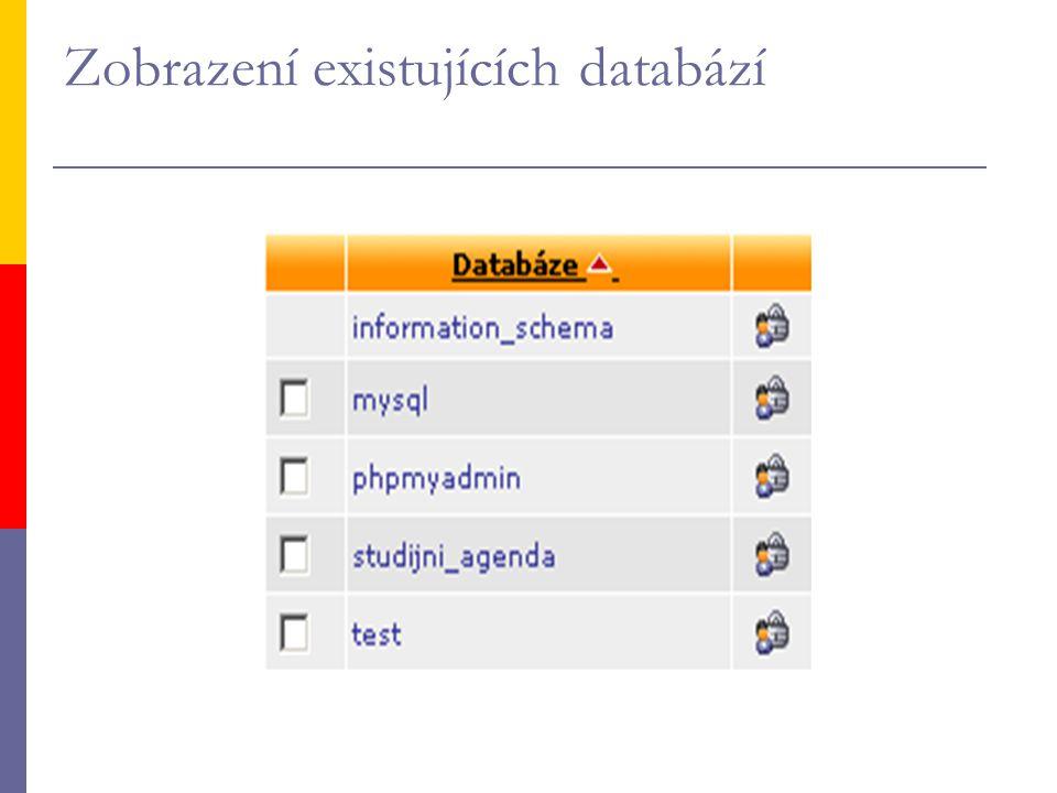 Zobrazení existujících databází
