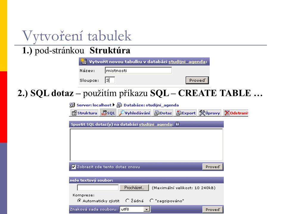 Vytvoření tabulek 1.) pod-stránkou Struktúra