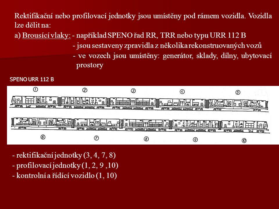 a) Brousící vlaky: - například SPENO řad RR, TRR nebo typu URR 112 B
