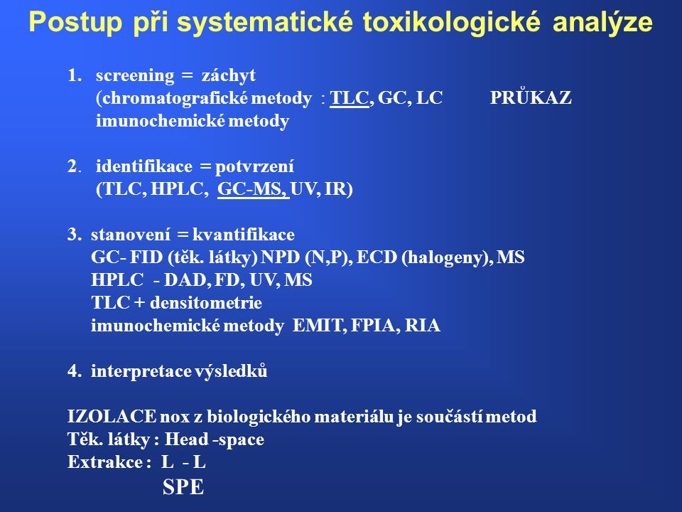 Postup při systematické toxikologické analýze