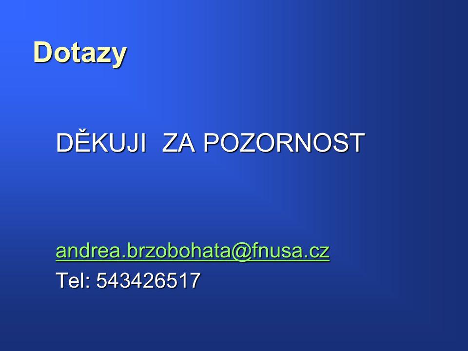 DĚKUJI ZA POZORNOST andrea.brzobohata@fnusa.cz Tel: 543426517