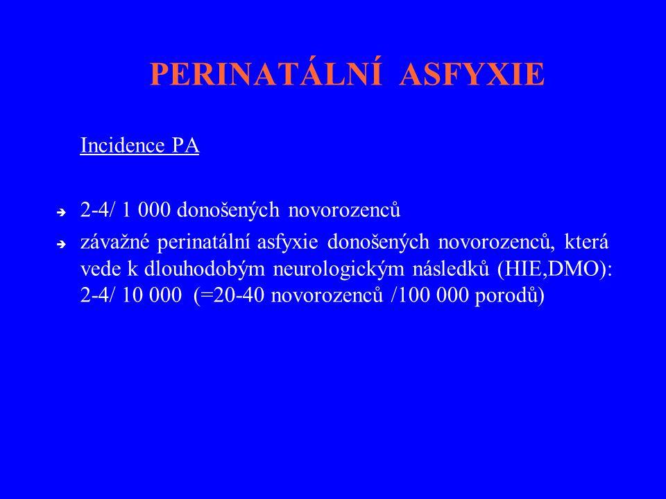 PERINATÁLNÍ ASFYXIE Incidence PA 2-4/ 1 000 donošených novorozenců