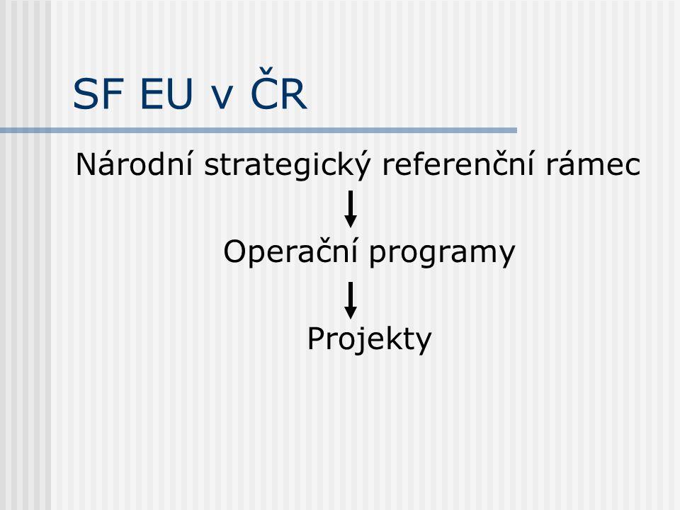 SF EU v ČR Národní strategický referenční rámec Operační programy