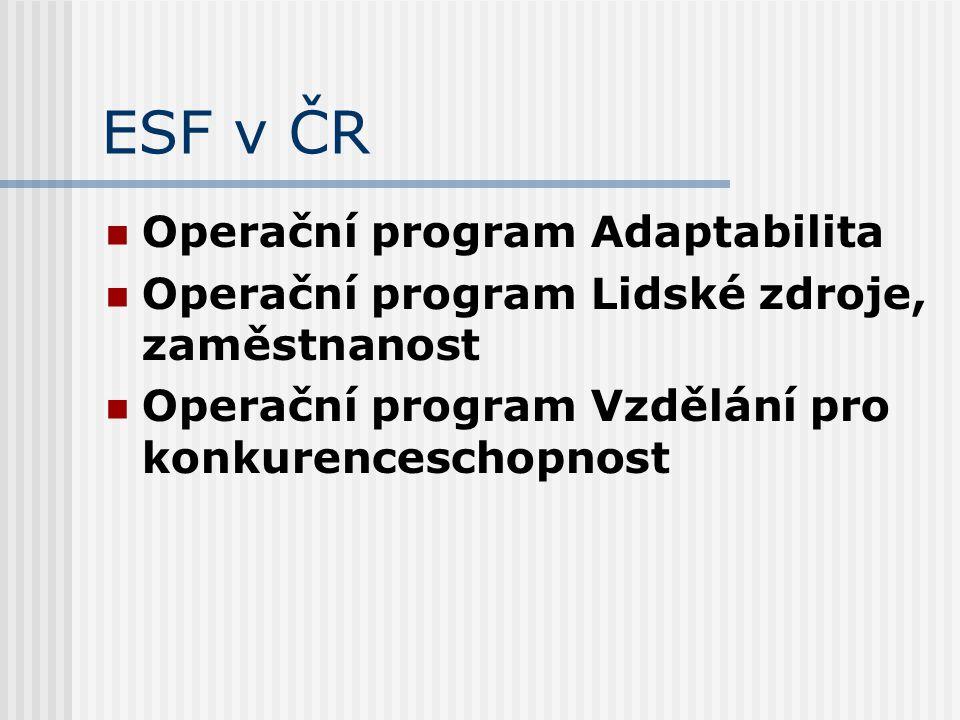 ESF v ČR Operační program Adaptabilita