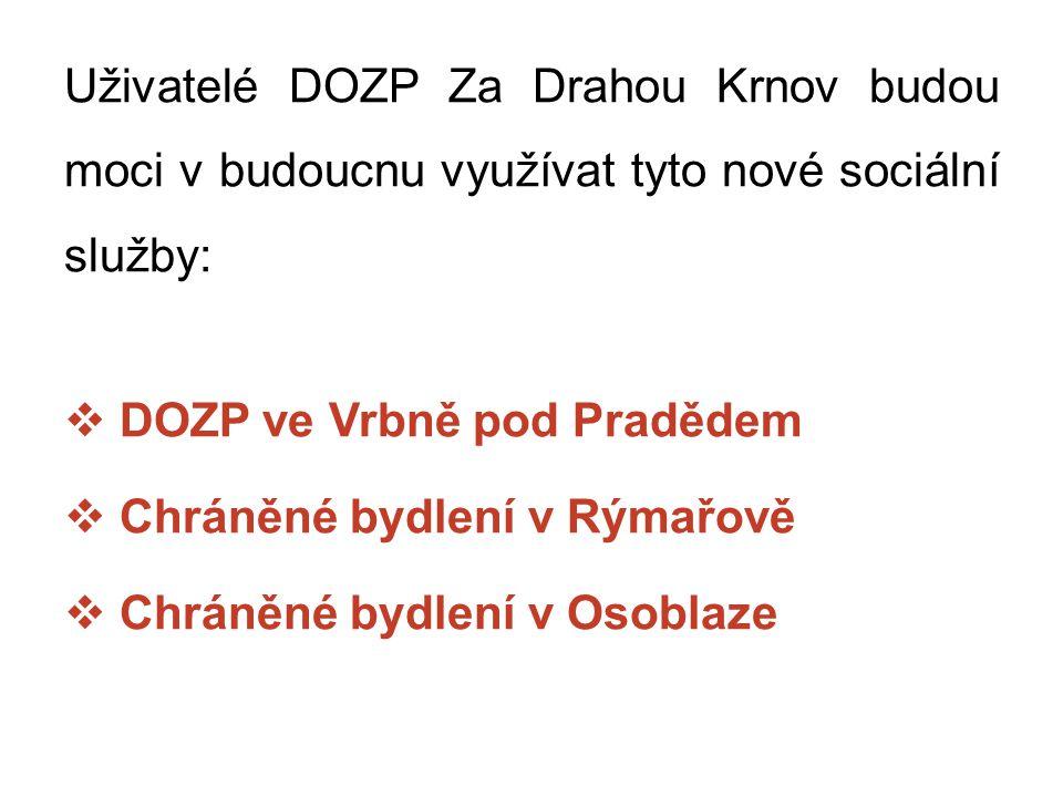 Uživatelé DOZP Za Drahou Krnov budou moci v budoucnu využívat tyto nové sociální služby: