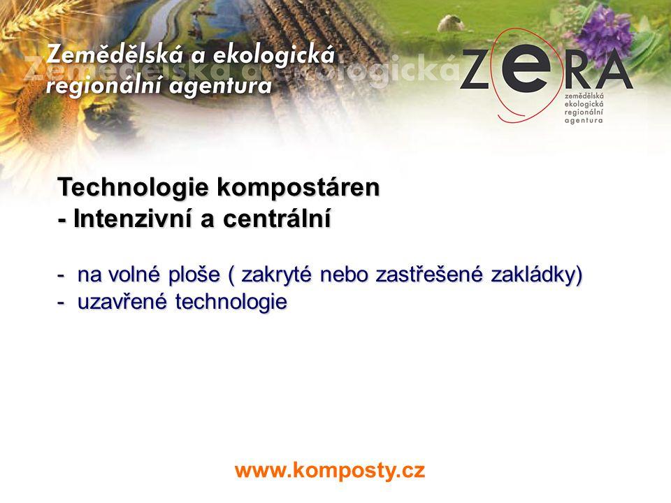 Technologie kompostáren - Intenzivní a centrální