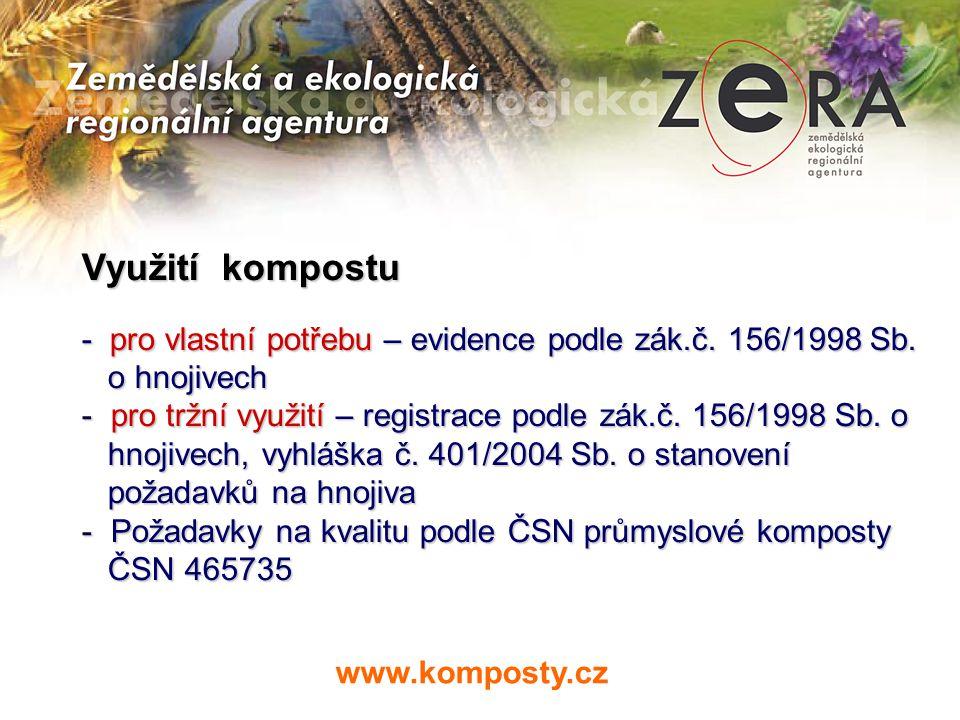 Využití kompostu - pro vlastní potřebu – evidence podle zák.č. 156/1998 Sb. o hnojivech.