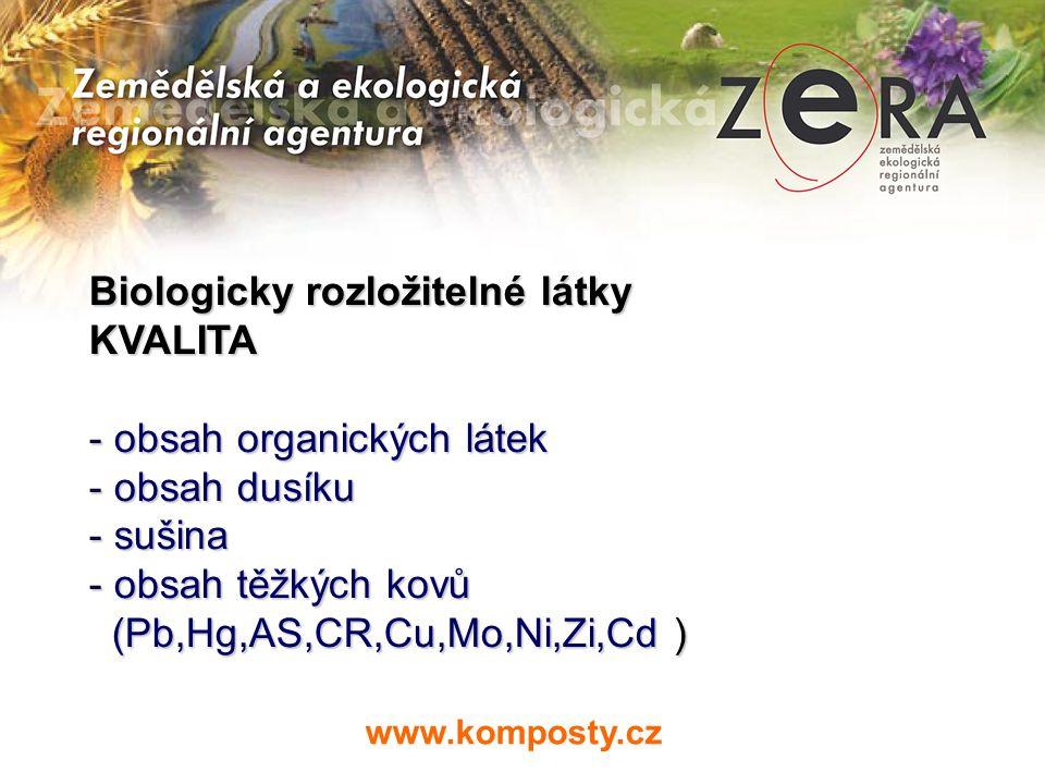 Biologicky rozložitelné látky KVALITA obsah organických látek