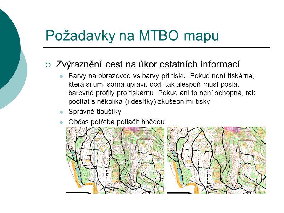 Požadavky na MTBO mapu Zvýraznění cest na úkor ostatních informací