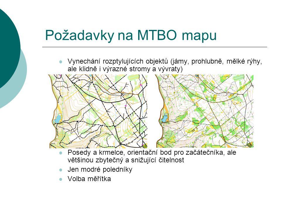 Požadavky na MTBO mapu Vynechání rozptylujících objektů (jámy, prohlubně, mělké rýhy, ale klidně i výrazné stromy a vývraty)