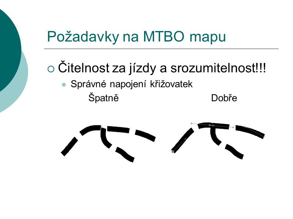 Požadavky na MTBO mapu Čitelnost za jízdy a srozumitelnost!!!