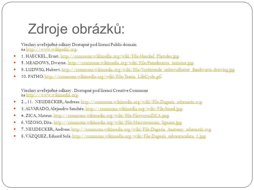 Zdroje obrázků: Všechny uveřejněné odkazy Dostupné pod licencí Public domain na http://www.wikipedia.org.