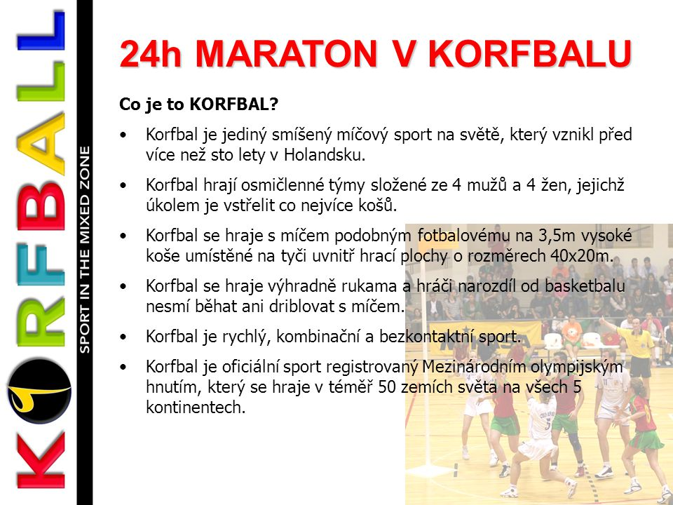 24h MARATON V KORFBALU Co je to KORFBAL