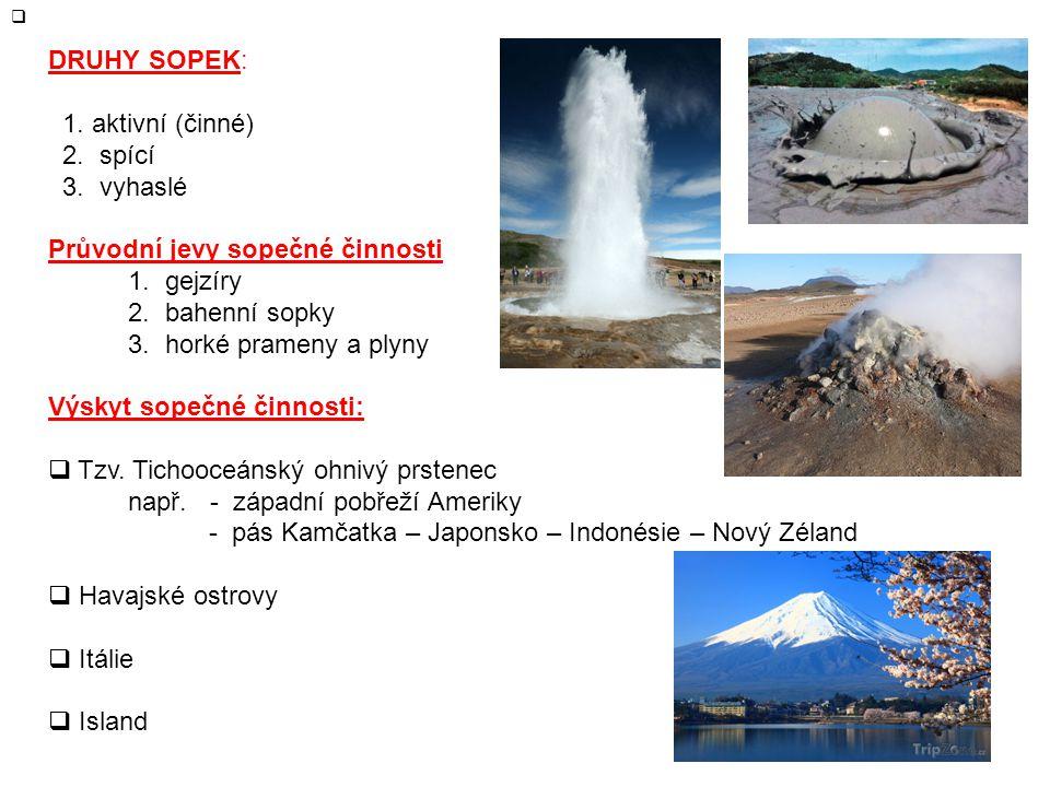 DRUHY SOPEK: 1. aktivní (činné) 2. spící. 3. vyhaslé. Průvodní jevy sopečné činnosti. 1. gejzíry.