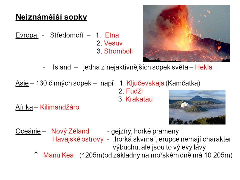Nejznámější sopky Evropa - Středomoří – 1. Etna 2. Vesuv 3. Stromboli