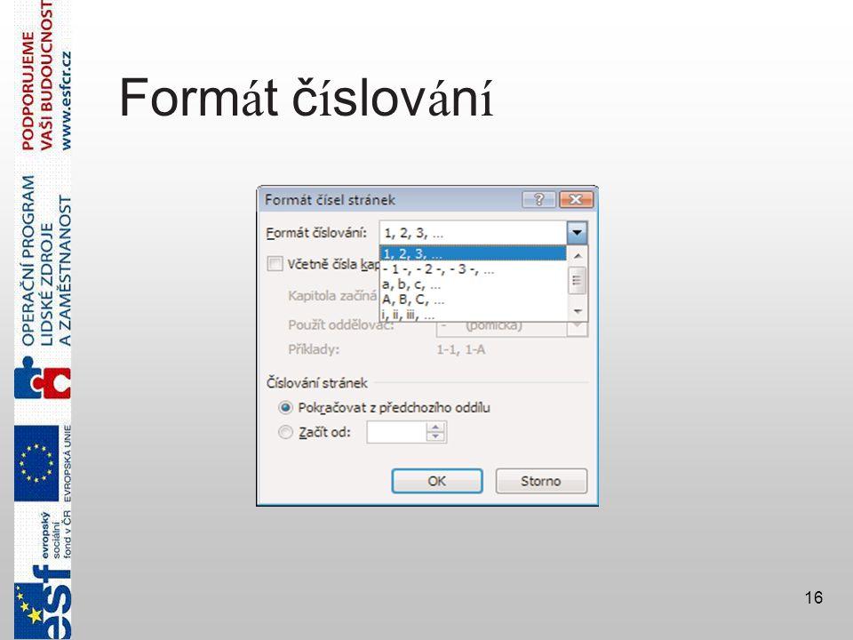 Formát číslování