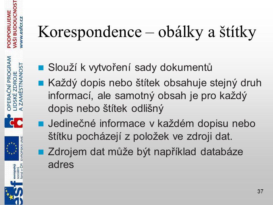 Korespondence – obálky a štítky