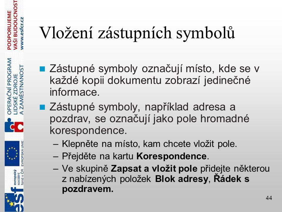 Vložení zástupních symbolů