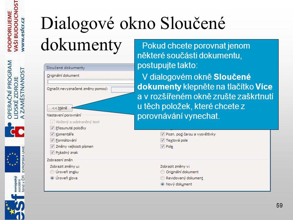 Dialogové okno Sloučené dokumenty