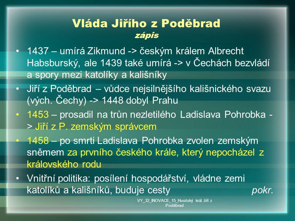 Vláda Jiřího z Poděbrad zápis