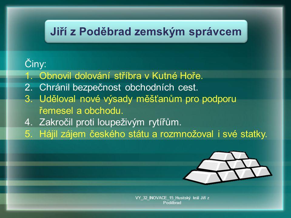 Jiří z Poděbrad zemským správcem