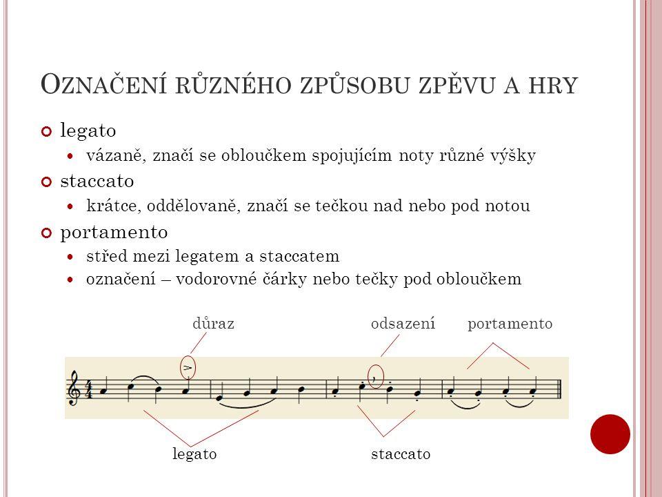 Označení různého způsobu zpěvu a hry