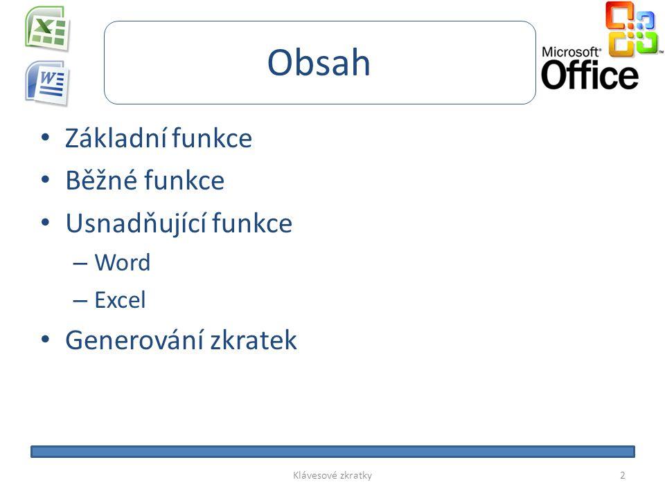 Obsah Základní funkce Běžné funkce Usnadňující funkce