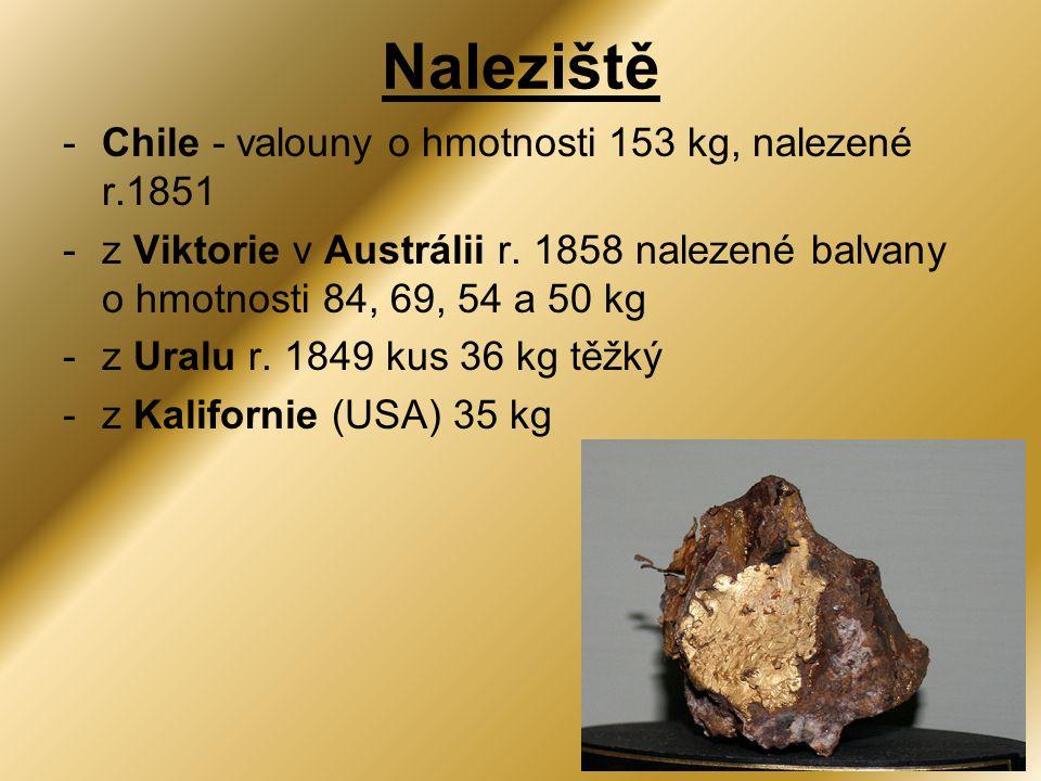 Naleziště Chile - valouny o hmotnosti 153 kg, nalezené r.1851