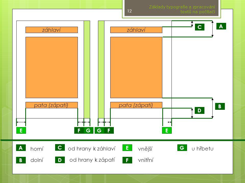 záhlaví pata (zápatí) A F E D C B G horní dolní od hrany k záhlaví