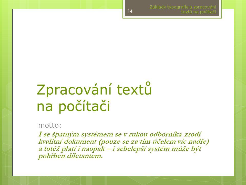 Zpracování textů na počítači