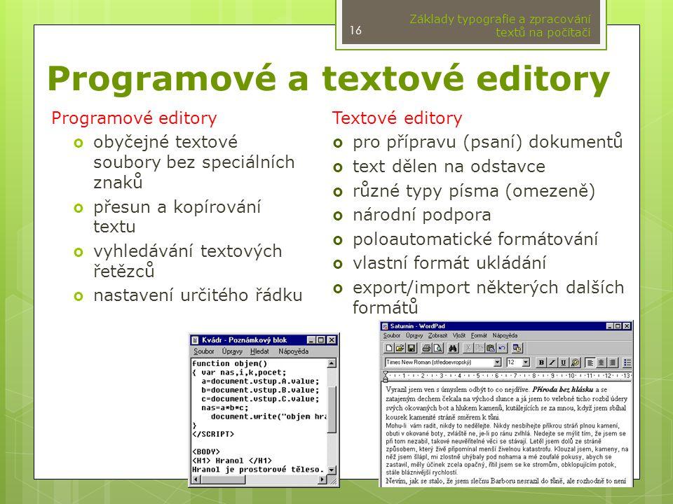 Programové a textové editory