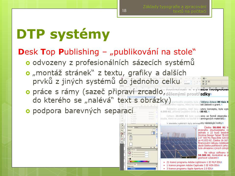 """DTP systémy Desk Top Publishing – """"publikování na stole"""