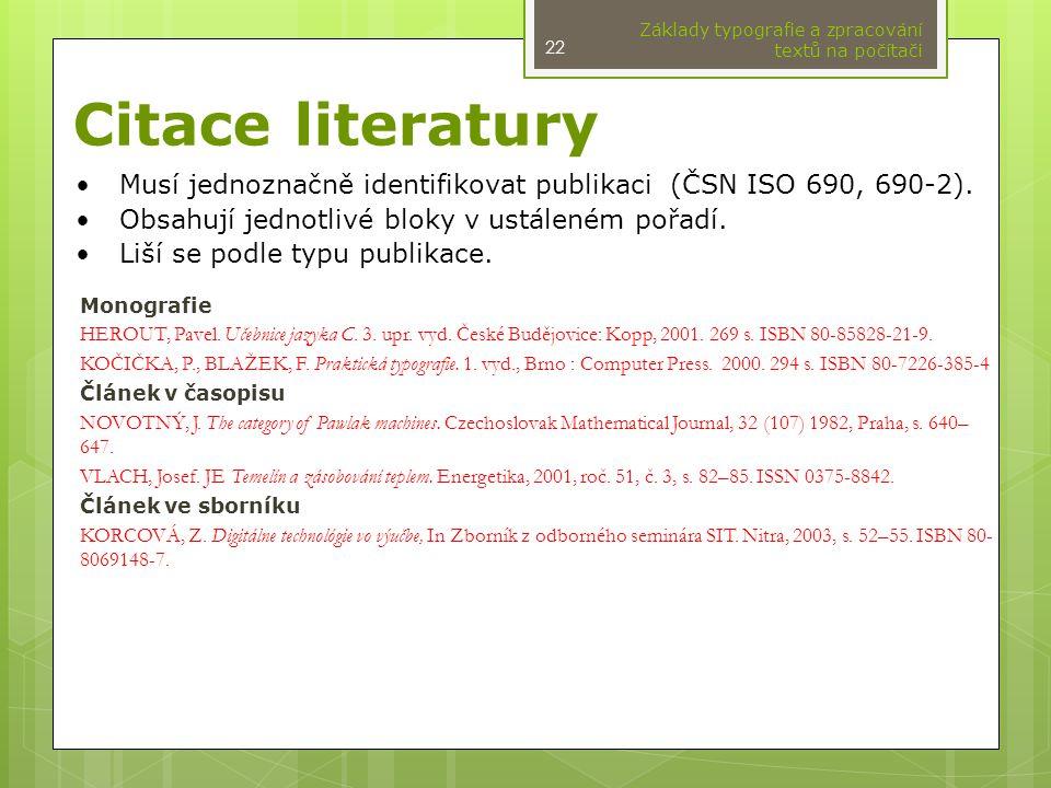 Základy typografie a zpracování textů na počítači