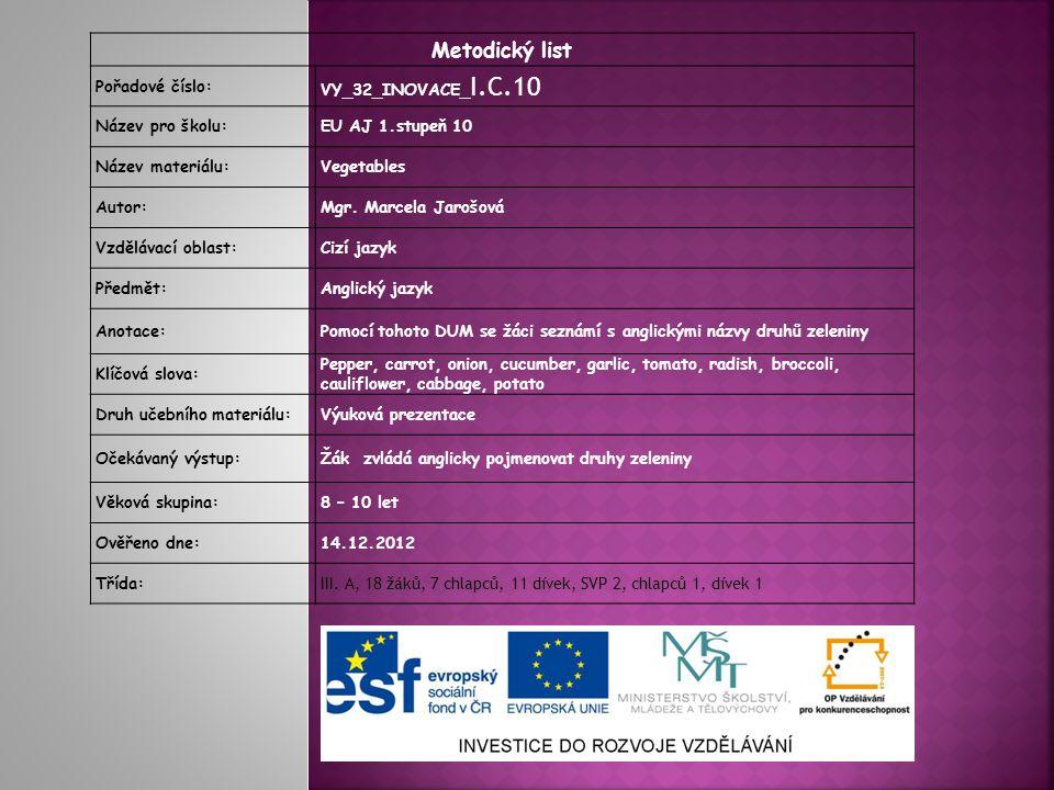 Metodický list Pořadové číslo: VY_32_INOVACE_I.C.10 Název pro školu: