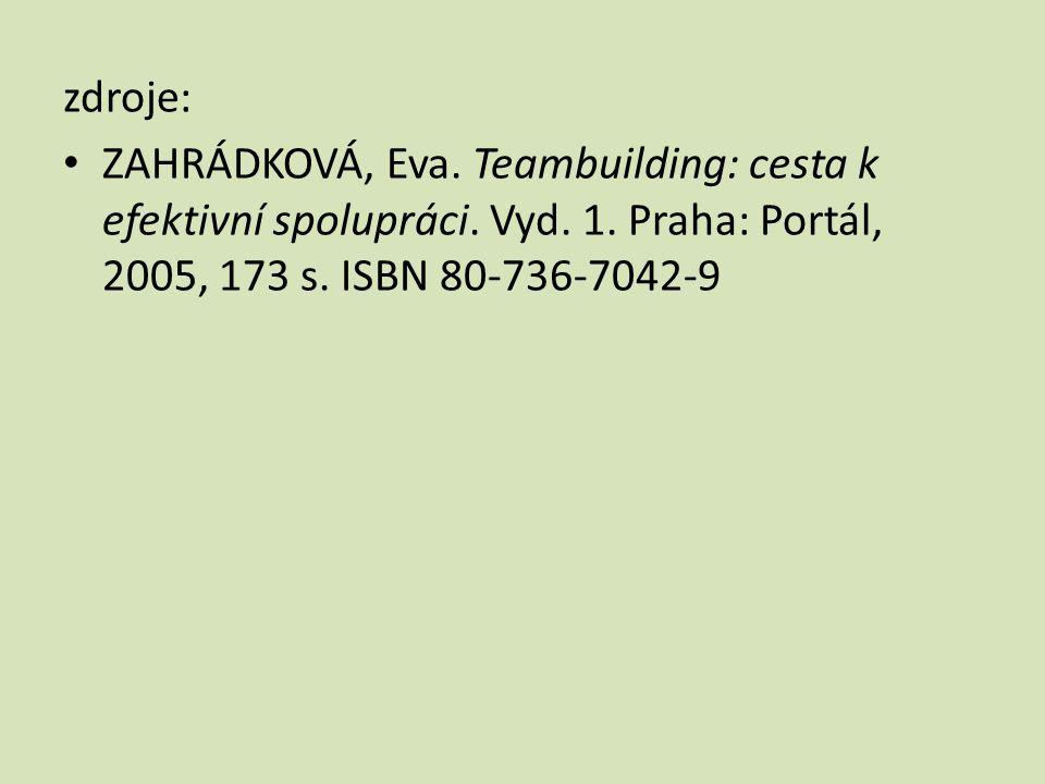 zdroje: ZAHRÁDKOVÁ, Eva. Teambuilding: cesta k efektivní spolupráci.