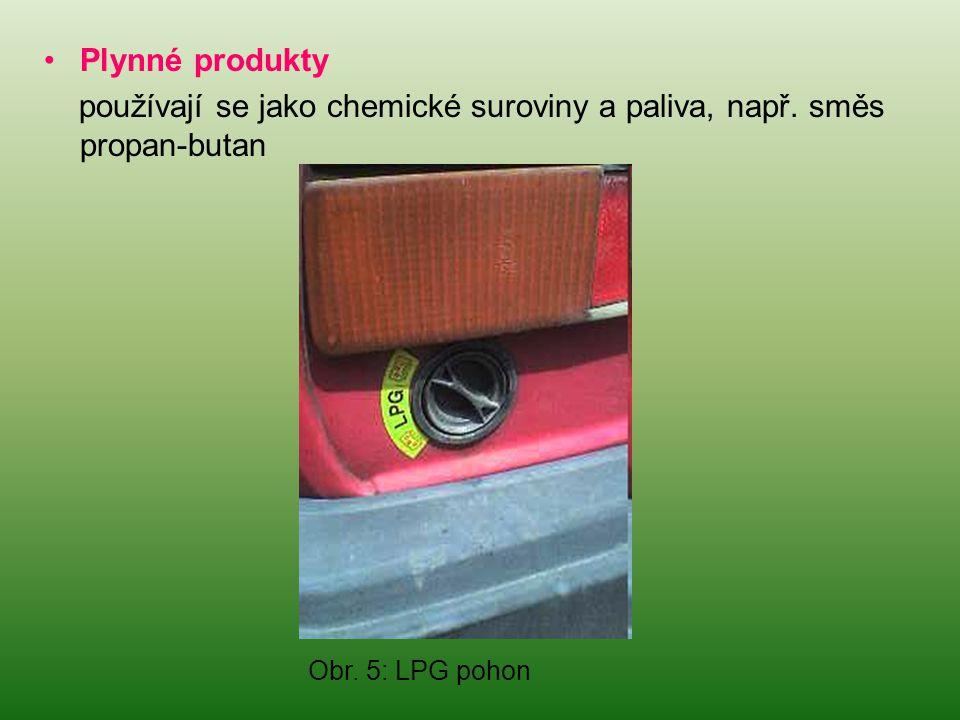 používají se jako chemické suroviny a paliva, např. směs propan-butan