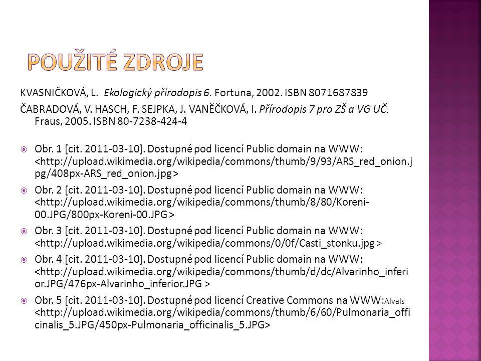 Použité zdroje KVASNIČKOVÁ, L. Ekologický přírodopis 6. Fortuna, 2002. ISBN 8071687839.